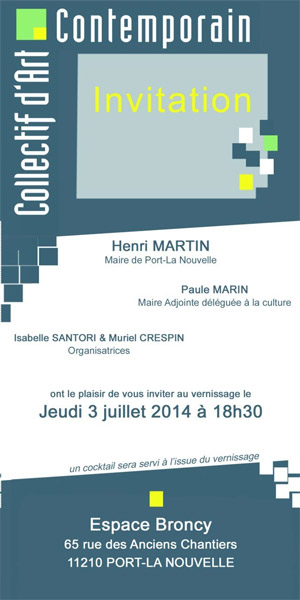 Carte d'invitation pour le vernissage de lùexposition du collectif d'art contemporain