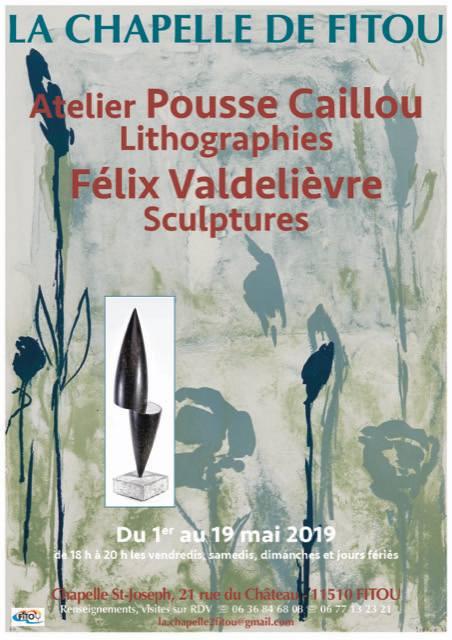 Affiche-Fitou-exposition-sculptures-lthographie-Felix-Valdelievre-Atelier-Pousse-Caillou