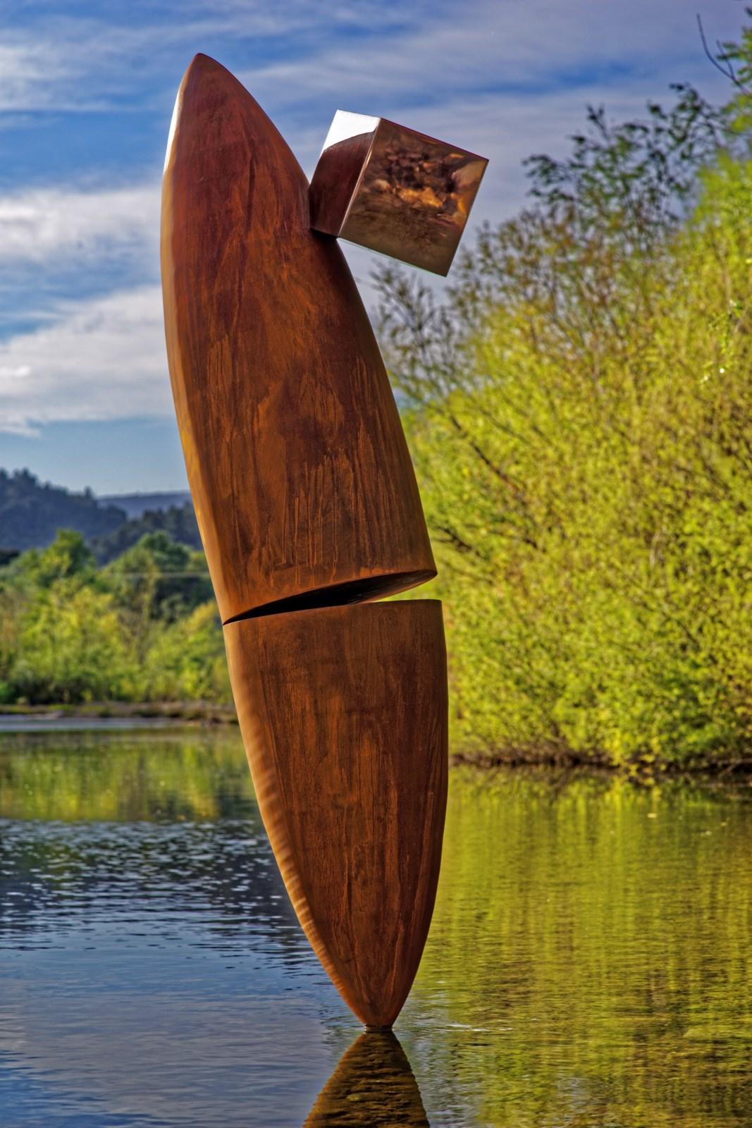 3.Sculpture-acier-corten-cube-inox-poli-miroir-hauteur:183cm-2016