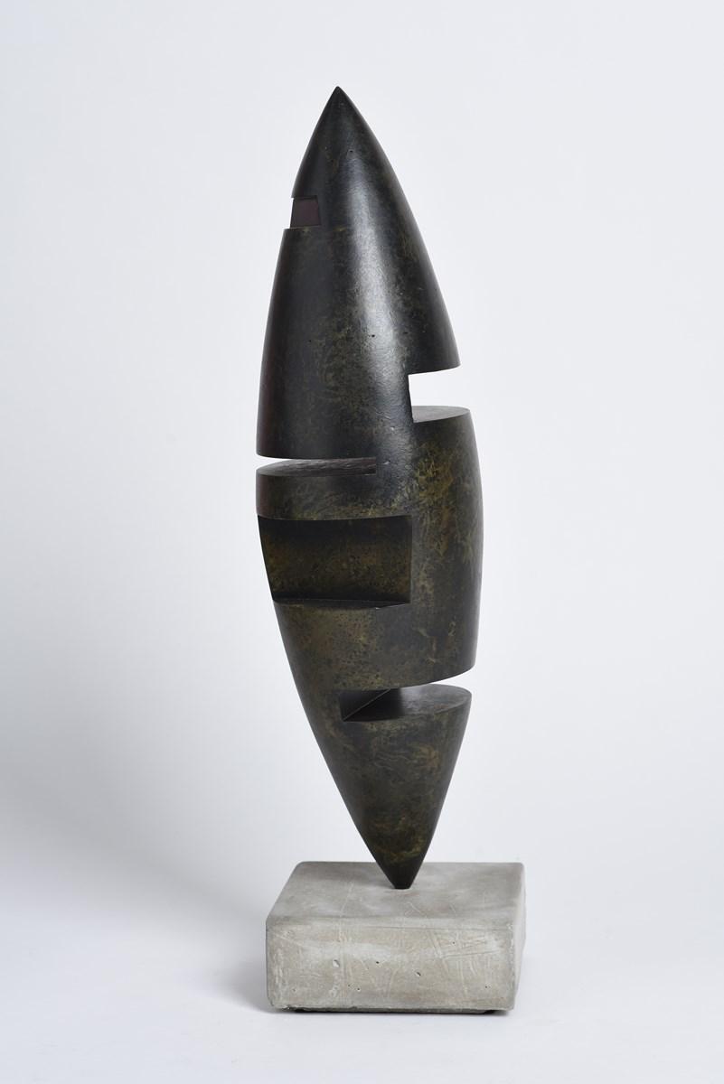 Sculpture-acier-patine-socle-beton-hauteur:60cm-2017