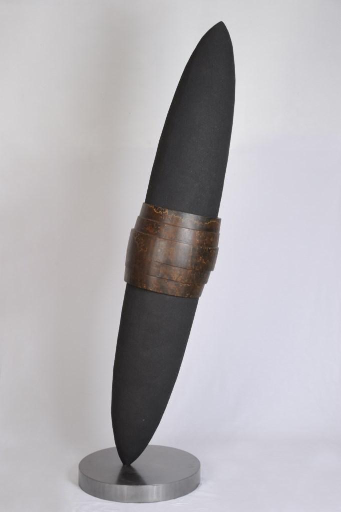 Sculpture-fer-patine-verni-limaille-de-fer-hauteur:203cm-2011