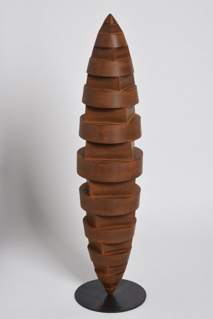 Sculpture-acier-corten-oxydé-hauteur:105cm-artiste-sculpteur-contemporain-Felix-Valdelievre-2015